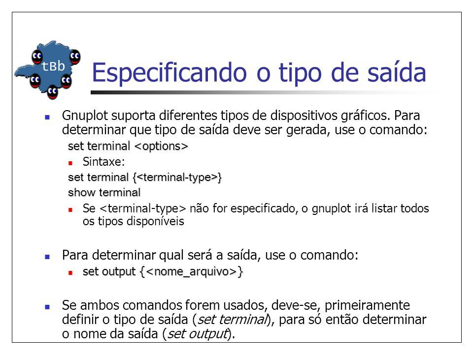 Especificando o tipo de saída  Gnuplot suporta diferentes tipos de dispositivos gráficos. Para determinar que tipo de saída deve ser gerada, use o co