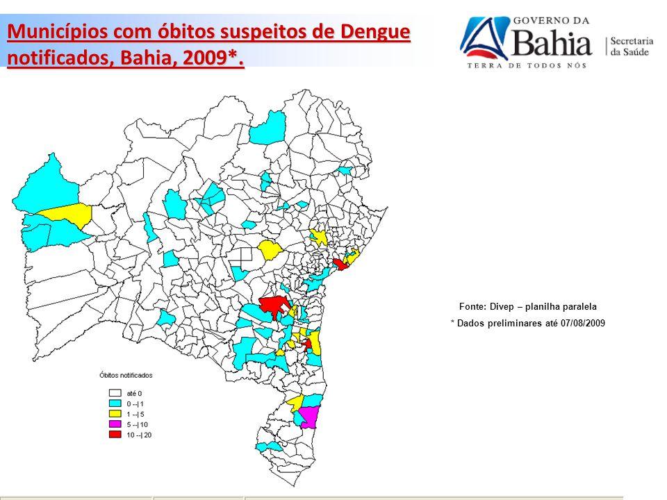 Municípios com óbitos por Dengue confirmados, Bahia, 2009*.