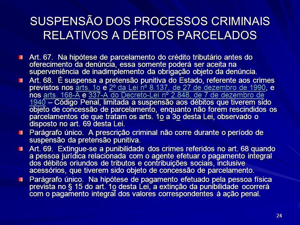 24 SUSPENSÃO DOS PROCESSOS CRIMINAIS RELATIVOS A DÉBITOS PARCELADOS Art.