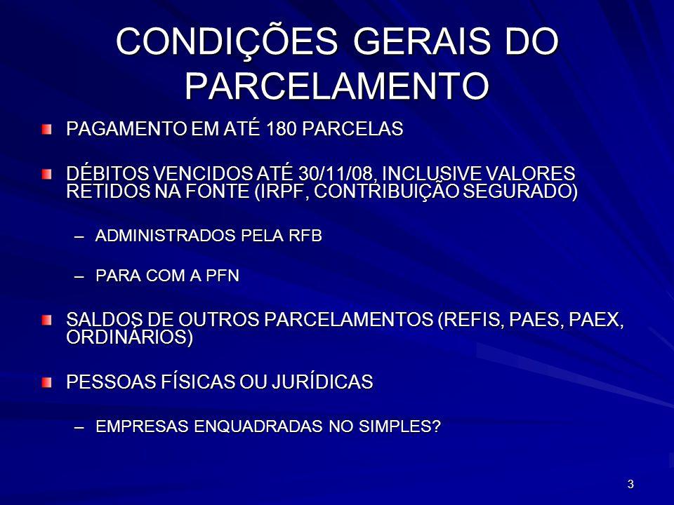 3 CONDIÇÕES GERAIS DO PARCELAMENTO PAGAMENTO EM ATÉ 180 PARCELAS DÉBITOS VENCIDOS ATÉ 30/11/08, INCLUSIVE VALORES RETIDOS NA FONTE (IRPF, CONTRIBUIÇÃO SEGURADO) –ADMINISTRADOS PELA RFB –PARA COM A PFN SALDOS DE OUTROS PARCELAMENTOS (REFIS, PAES, PAEX, ORDINÁRIOS) PESSOAS FÍSICAS OU JURÍDICAS –EMPRESAS ENQUADRADAS NO SIMPLES?