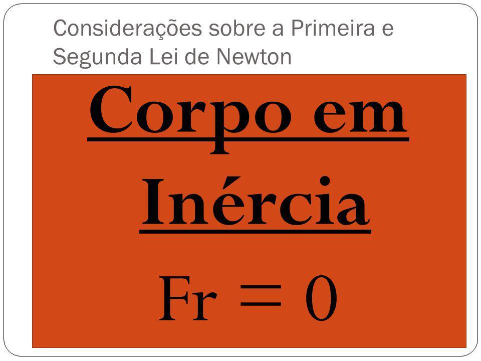 Corpo em Inércia Fr = 0 Considerações sobre a Primeira e Segunda Lei de Newton