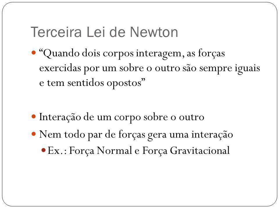 """Terceira Lei de Newton  """"Quando dois corpos interagem, as forças exercidas por um sobre o outro são sempre iguais e tem sentidos opostos""""  Interação"""