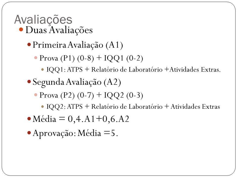 Avaliações  Duas Avaliações  Primeira Avaliação (A1)  Prova (P1) (0-8) + IQQ1 (0-2)  IQQ1: ATPS + Relatório de Laboratório +Atividades Extras.  S