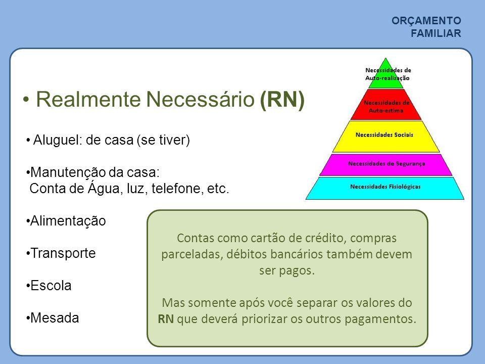 ORÇAMENTO FAMILIAR • Realmente Necessário (RN) • Aluguel: de casa (se tiver) •Manutenção da casa: Conta de Água, luz, telefone, etc.