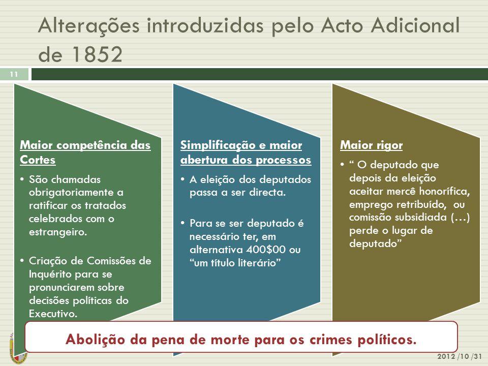 Alterações introduzidas pelo Acto Adicional de 1852 2012 /10 /31 11 Maior competência das Cortes •São chamadas obrigatoriamente a ratificar os tratado