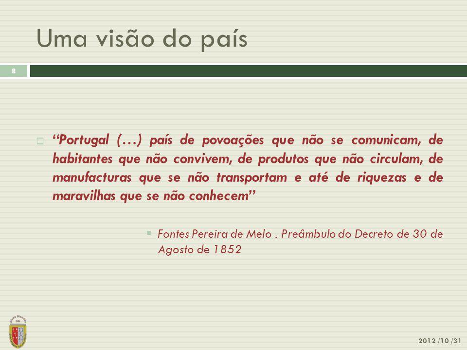 """Uma visão do país 2012 /10 /31 8  """"Portugal (…) país de povoações que não se comunicam, de habitantes que não convivem, de produtos que não circulam,"""