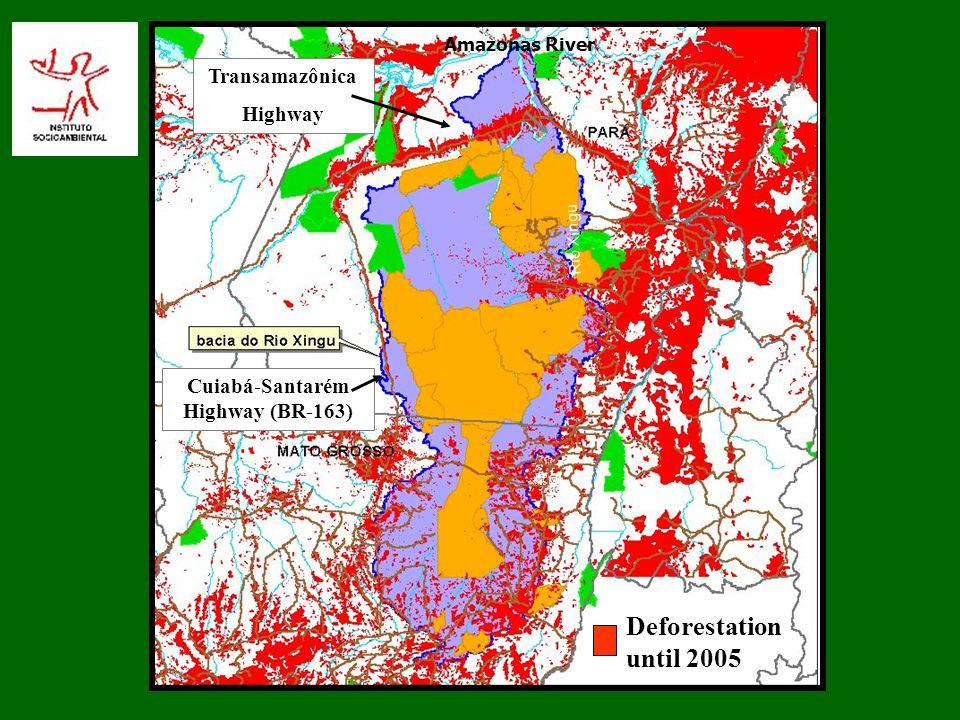 Amazonas River Rio Xingu Cuiabá-Santarém Highway (BR-163) Transamazônica Highway Deforestation until 2005