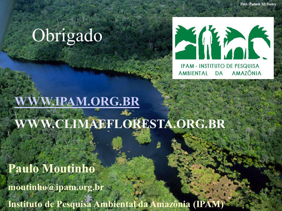 Foto: Patrick Mcfeeley Paulo Moutinho moutinho@ipam.org.br Instituto de Pesquisa Ambiental da Amazônia (IPAM) Obrigado WWW.IPAM.ORG.BR WWW.CLIMAEFLORE