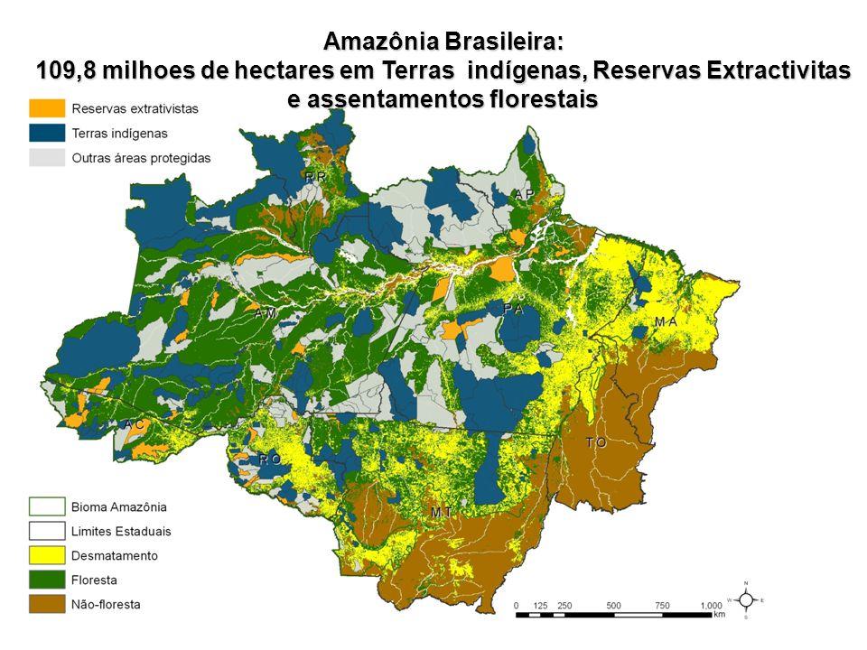 Amazônia Brasileira: 109,8 milhoes de hectares em Terras indígenas, Reservas Extractivitas e assentamentos florestais