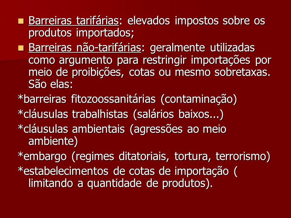  Barreiras tarifárias: elevados impostos sobre os produtos importados;  Barreiras não-tarifárias: geralmente utilizadas como argumento para restringir importações por meio de proibições, cotas ou mesmo sobretaxas.