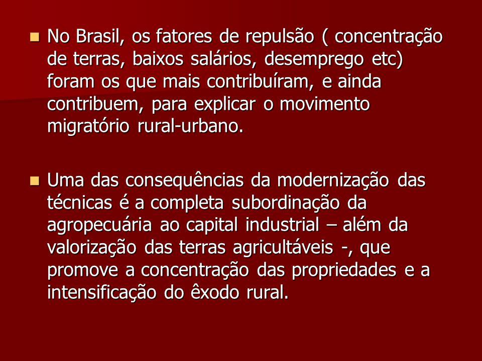  No Brasil, os fatores de repulsão ( concentração de terras, baixos salários, desemprego etc) foram os que mais contribuíram, e ainda contribuem, para explicar o movimento migratório rural-urbano.