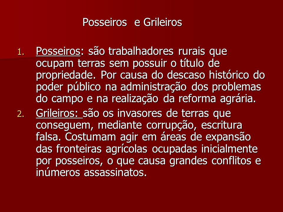 Posseiros e Grileiros Posseiros e Grileiros 1. Posseiros: são trabalhadores rurais que ocupam terras sem possuir o título de propriedade. Por causa do