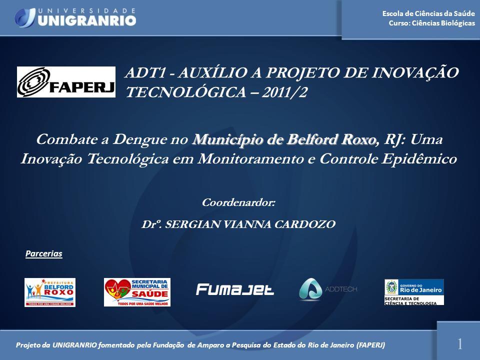 Escola de Ciências da Saúde Curso: Ciências Biológicas ADT1 - AUXÍLIO A PROJETO DE INOVAÇÃO TECNOLÓGICA – 2011/2 1 Projeto da UNIGRANRIO fomentado pel