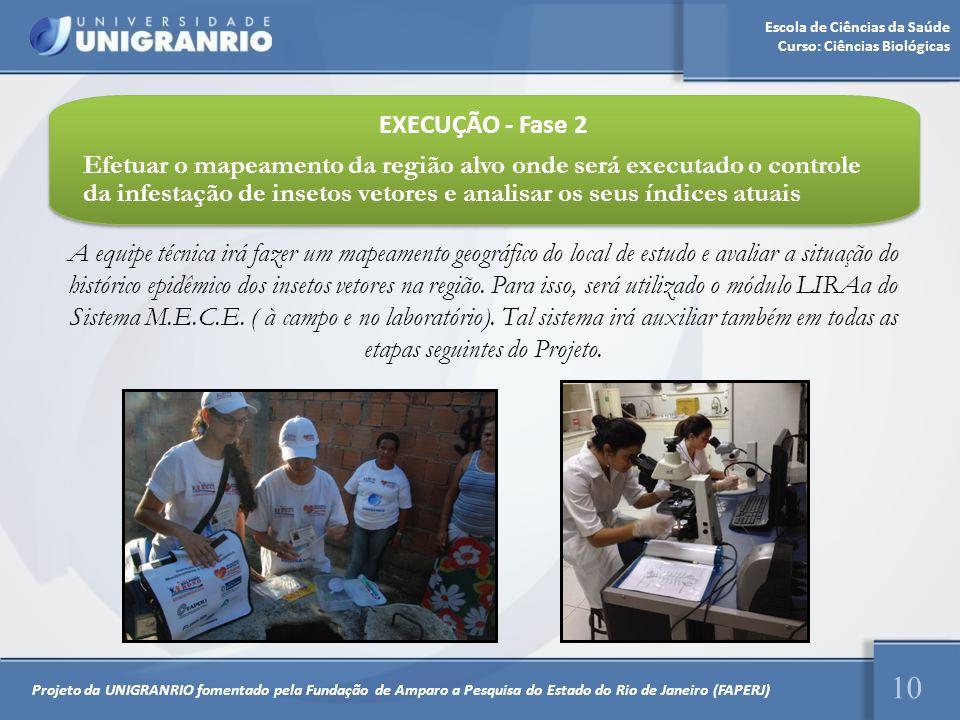 Escola de Ciências da Saúde Curso: Ciências Biológicas 10 EXECUÇÃO - Fase 2 Efetuar o mapeamento da região alvo onde será executado o controle da infe