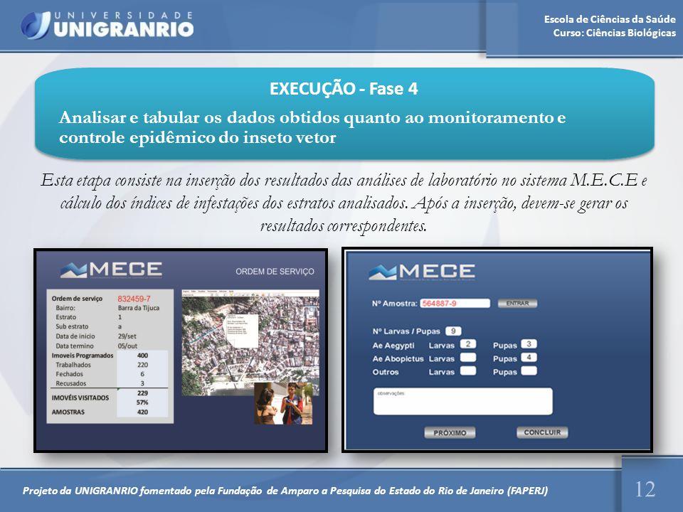 Escola de Ciências da Saúde Curso: Ciências Biológicas 12 EXECUÇÃO - Fase 4 Analisar e tabular os dados obtidos quanto ao monitoramento e controle epi