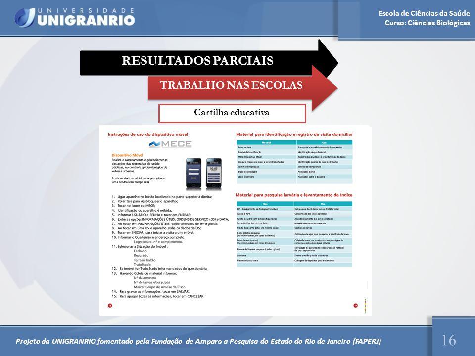 Escola de Ciências da Saúde Curso: Ciências Biológicas 16 Projeto da UNIGRANRIO fomentado pela Fundação de Amparo a Pesquisa do Estado do Rio de Janei