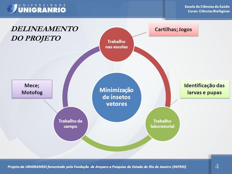 Escola de Ciências da Saúde Curso: Ciências Biológicas 4 DELINEAMENTO DO PROJETO Minimização de insetos vetores Trabalho nas escolas Trabalho laborato