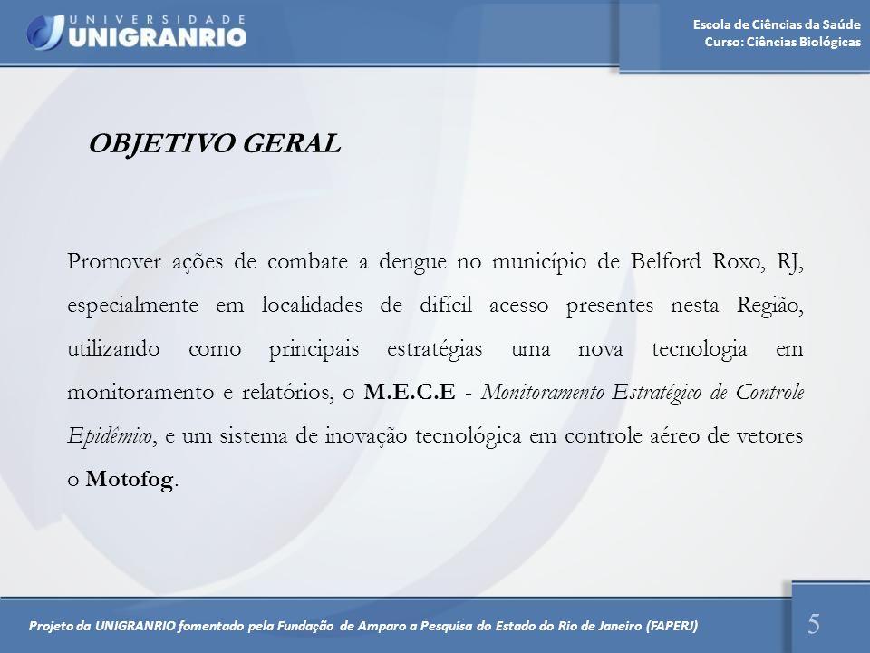 Escola de Ciências da Saúde Curso: Ciências Biológicas Promover ações de combate a dengue no município de Belford Roxo, RJ, especialmente em localidad