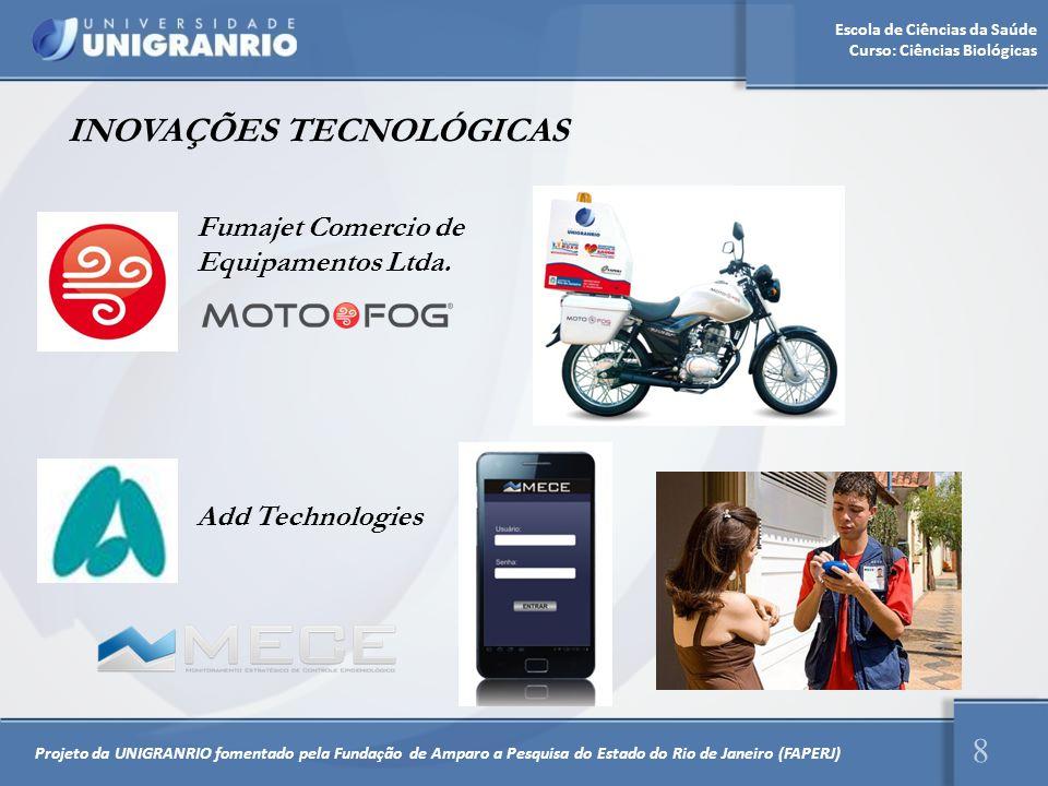 Escola de Ciências da Saúde Curso: Ciências Biológicas INOVAÇÕES TECNOLÓGICAS 8 Fumajet Comercio de Equipamentos Ltda. Add Technologies Projeto da UNI