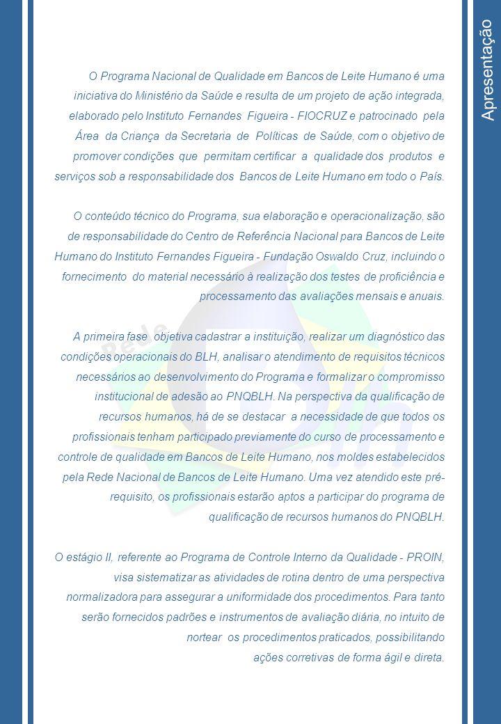 Apresentação O Programa Nacional de Qualidade em Bancos de Leite Humano é uma iniciativa do Ministério da Saúde e resulta de um projeto de ação integr