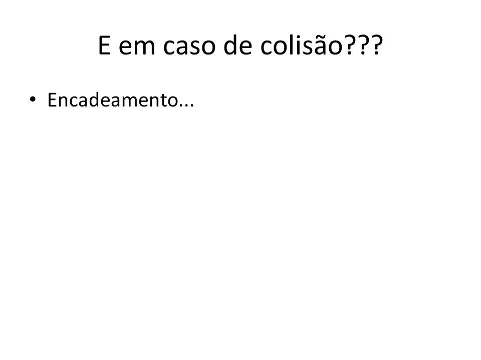 E em caso de colisão??? • Encadeamento...