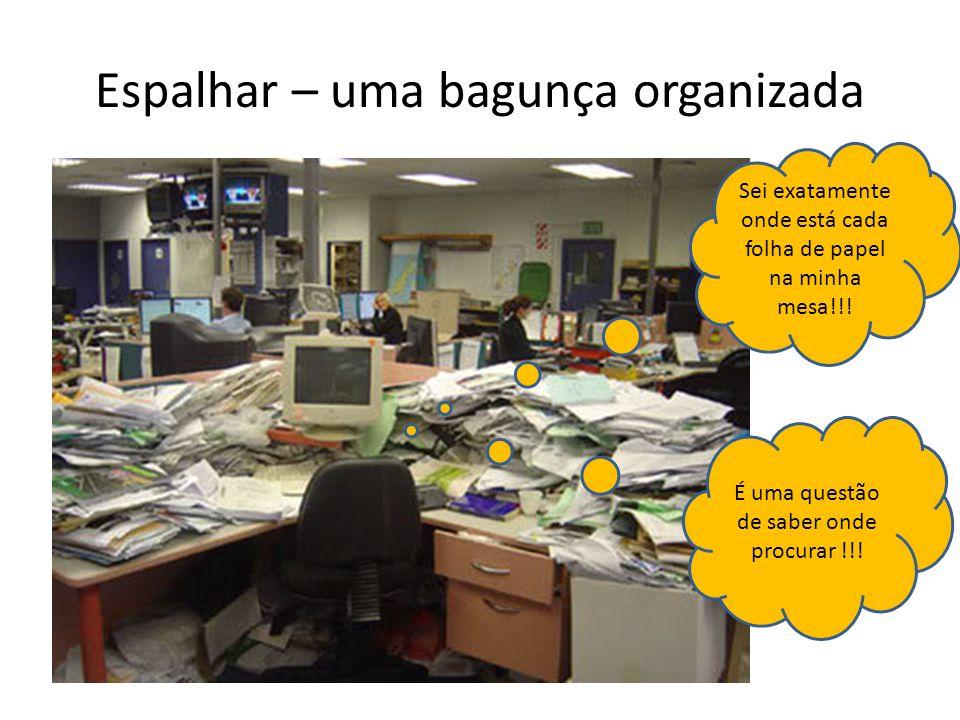 Espalhar – uma bagunça organizada Sei exatamente onde está cada folha de papel na minha mesa!!.