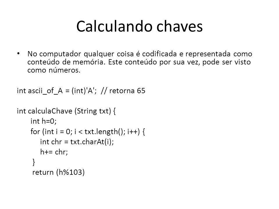 Calculando chaves • No computador qualquer coisa é codificada e representada como conteúdo de memória.