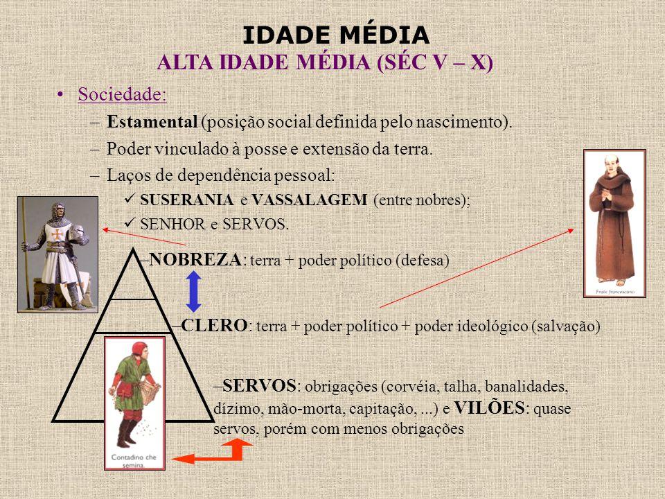 IDADE MÉDIA ALTA IDADE MÉDIA (SÉC V – X) •Sociedade: –Estamental (posição social definida pelo nascimento). –Poder vinculado à posse e extensão da ter