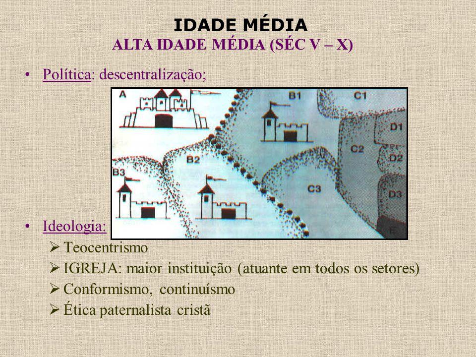 IDADE MÉDIA ALTA IDADE MÉDIA (SÉC V – X) •Política: descentralização; •Ideologia:  Teocentrismo  IGREJA: maior instituição (atuante em todos os seto