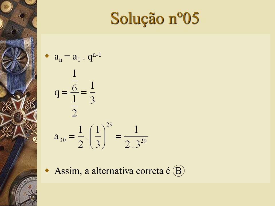 Questão nº05  O trigésimo termo da seqüência é: A) B) C) 5 D) E)