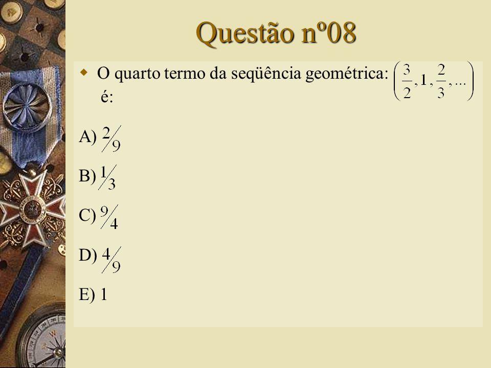 Solução nº07  a n = a 1. q n-1 x = 2. 2 30-1 x= 2. 2 29 x = 2 30 log 4 x = log 4 2 30 = y  4 y = 2 30  (2 2 ) y = 2 30   2 2y = 2 30  2y = 30 y