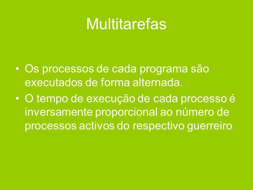 Multitarefas •Os processos de cada programa são executados de forma alternada. •O tempo de execução de cada processo é inversamente proporcional ao nú