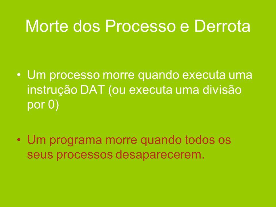 Morte dos Processo e Derrota •Um processo morre quando executa uma instrução DAT (ou executa uma divisão por 0) •Um programa morre quando todos os seu