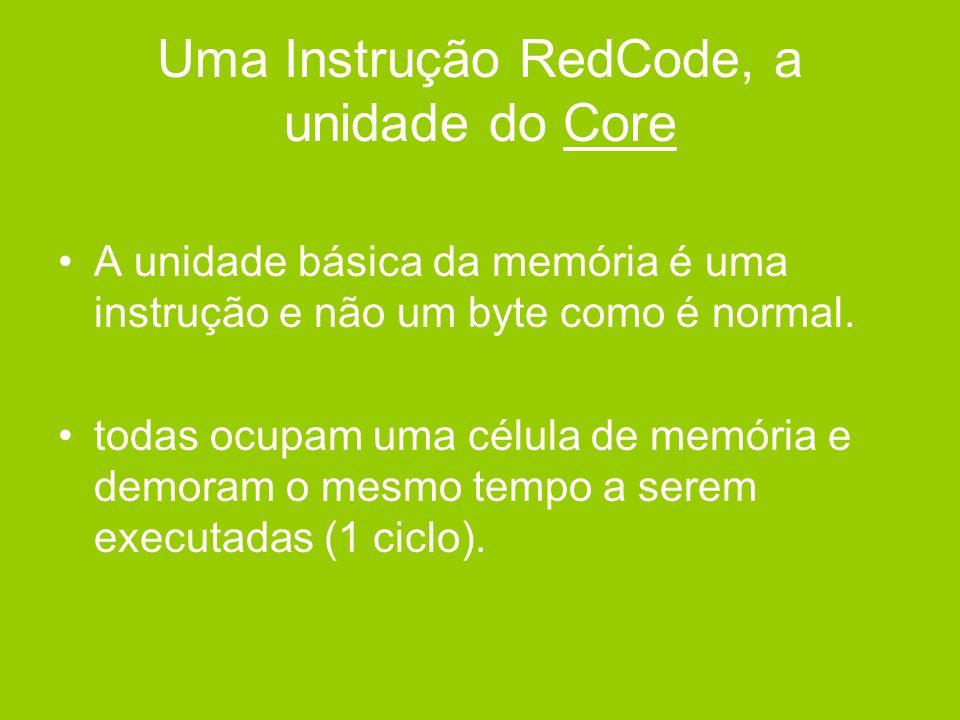 Estrutura de uma Instrução •Cada instrução Redcode divide-se num código de instrução (opcode) e dois campos numéricos (A:endereço fonte e B:endereço destino) •Uma instrução só pode ser copiada e testada quanto à igualdade.