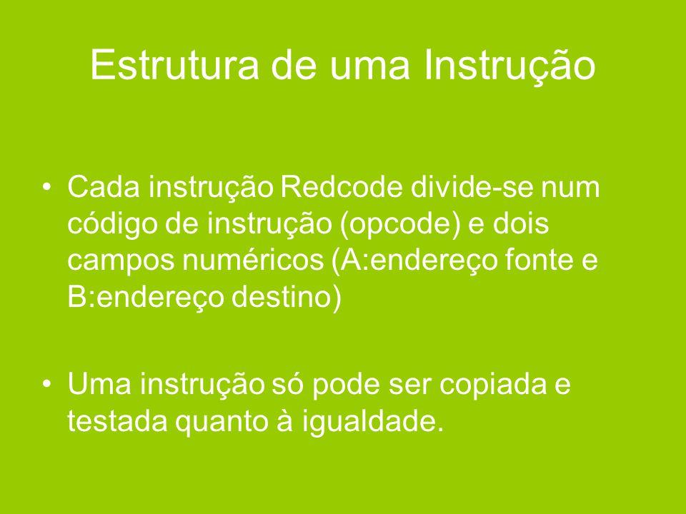 Estrutura de uma Instrução •Cada instrução Redcode divide-se num código de instrução (opcode) e dois campos numéricos (A:endereço fonte e B:endereço d