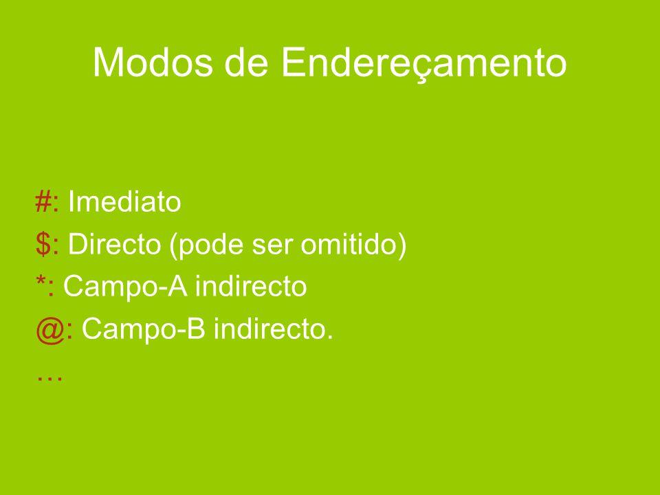 Modos de Endereçamento #: Imediato $: Directo (pode ser omitido) *: Campo-A indirecto @: Campo-B indirecto. …