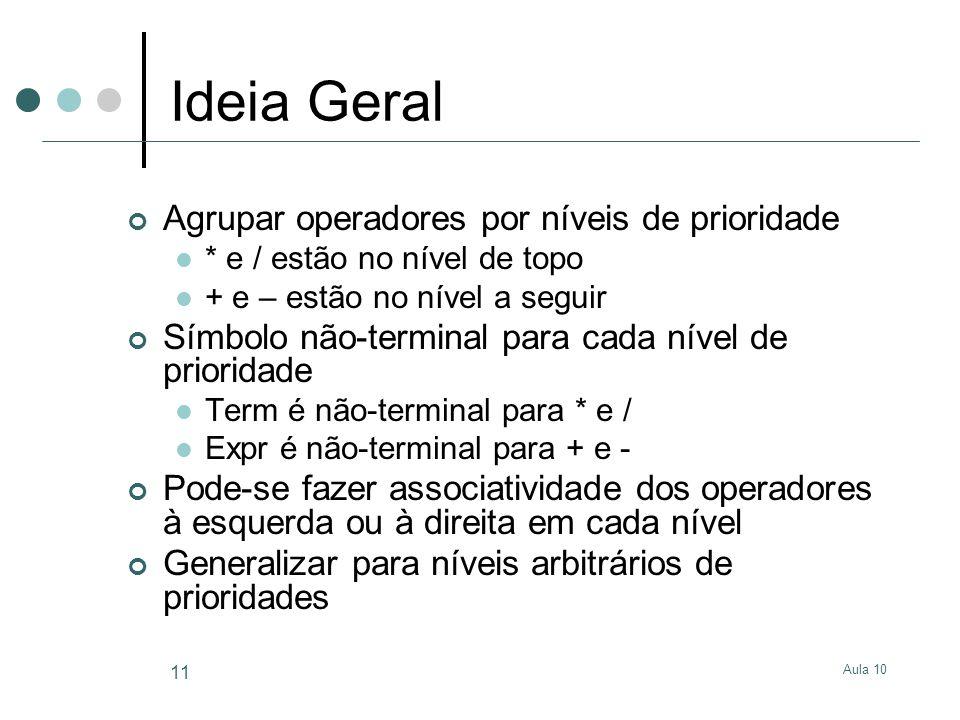 Aula 10 11 Ideia Geral Agrupar operadores por níveis de prioridade  * e / estão no nível de topo  + e – estão no nível a seguir Símbolo não-terminal