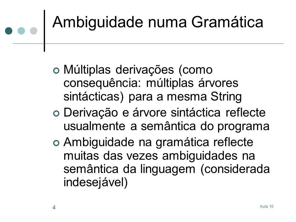 Aula 10 4 Ambiguidade numa Gramática Múltiplas derivações (como consequência: múltiplas árvores sintácticas) para a mesma String Derivação e árvore si