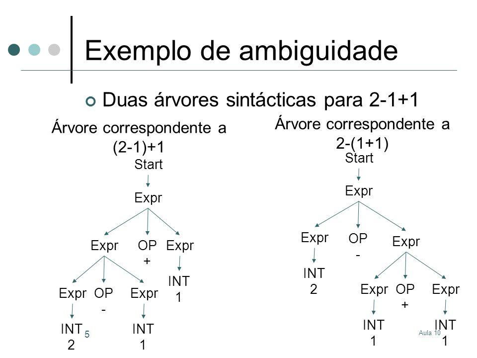 Aula 10 5 Exemplo de ambiguidade Duas árvores sintácticas para 2-1+1 Start Expr OP + Expr OP - INT 2 INT 1 INT 1 Start Expr OP - Expr OP + INT 1 INT 1