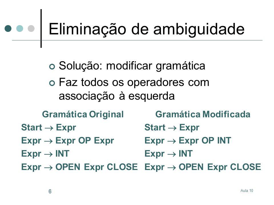 Aula 10 6 Eliminação de ambiguidade Solução: modificar gramática Faz todos os operadores com associação à esquerda Gramática Original Start  Expr Exp