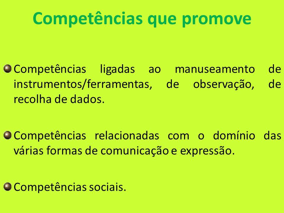 Competências que promove Competências ligadas ao manuseamento de instrumentos/ferramentas, de observação, de recolha de dados.