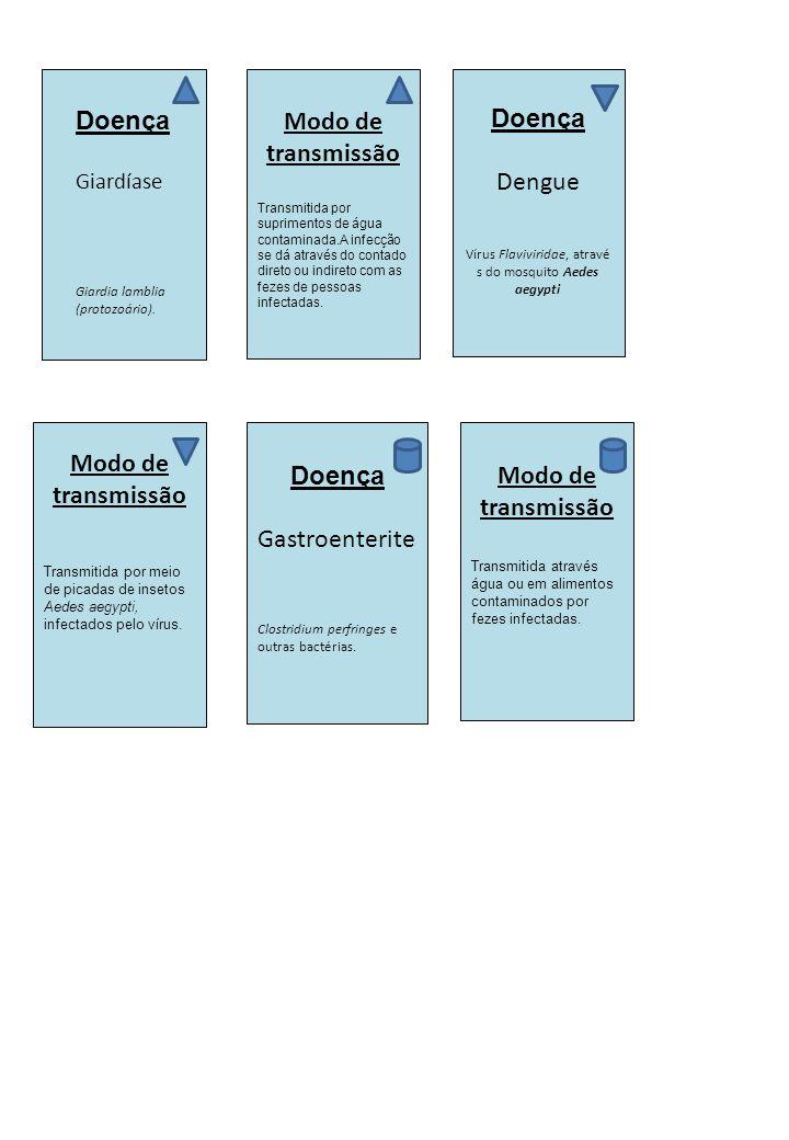 Doença Giardíase Giardia lamblia (protozoário). Modo de transmissão Transmitida por suprimentos de água contaminada.A infecção se dá através do contad