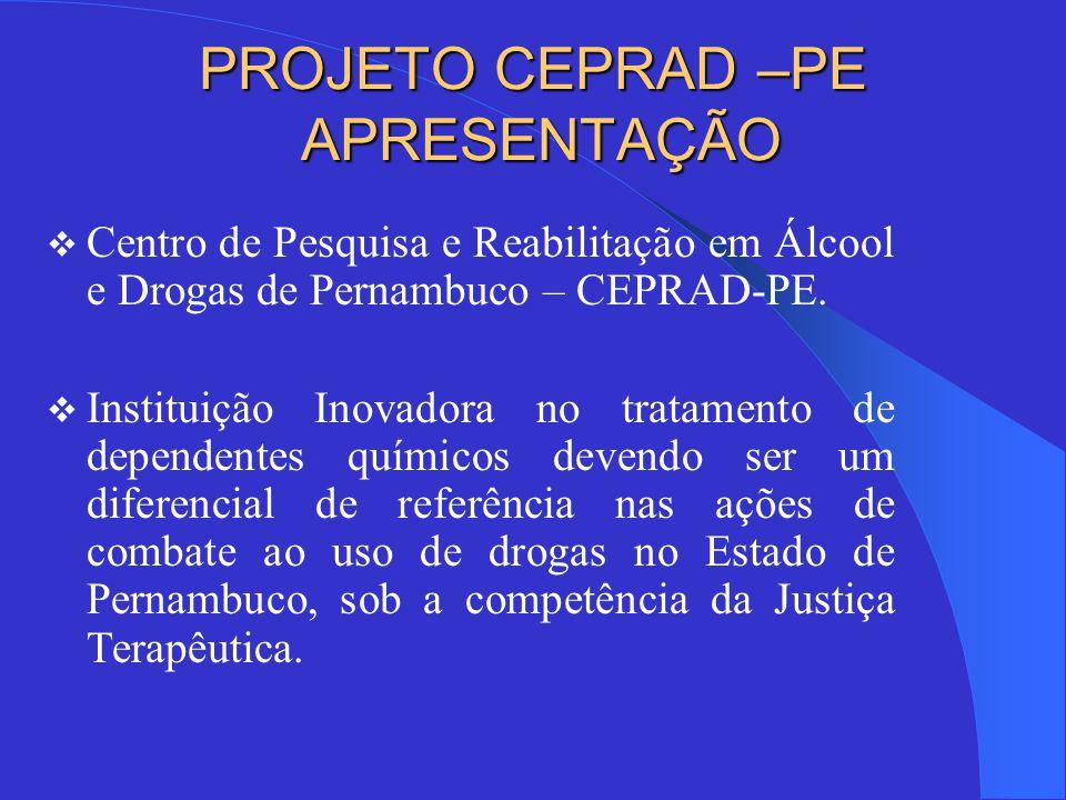 PROJETO CEPRAD –PE APRESENTAÇÃO  Centro de Pesquisa e Reabilitação em Álcool e Drogas de Pernambuco – CEPRAD-PE.