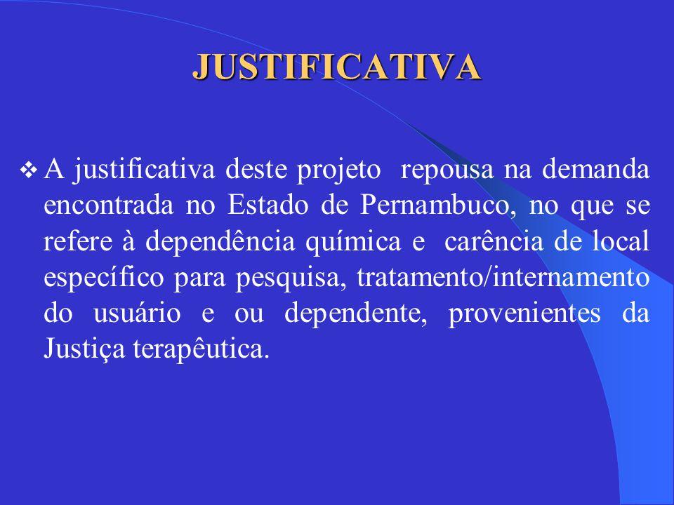JUSTIFICATIVA  A justificativa deste projeto repousa na demanda encontrada no Estado de Pernambuco, no que se refere à dependência química e carência de local específico para pesquisa, tratamento/internamento do usuário e ou dependente, provenientes da Justiça terapêutica.