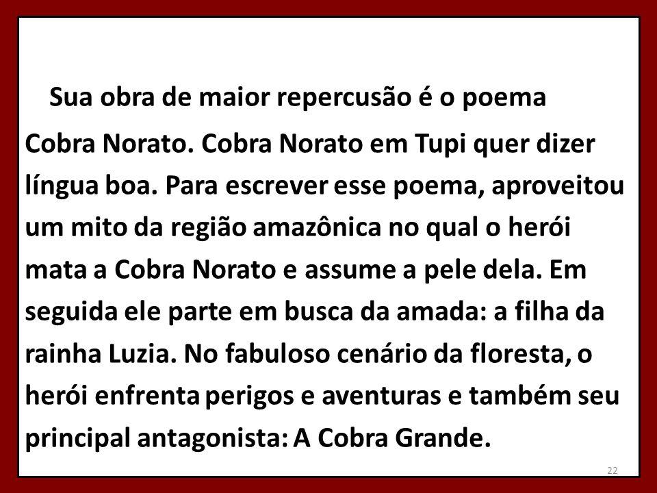 Sua obra de maior repercusão é o poema Cobra Norato. Cobra Norato em Tupi quer dizer língua boa. Para escrever esse poema, aproveitou um mito da regiã