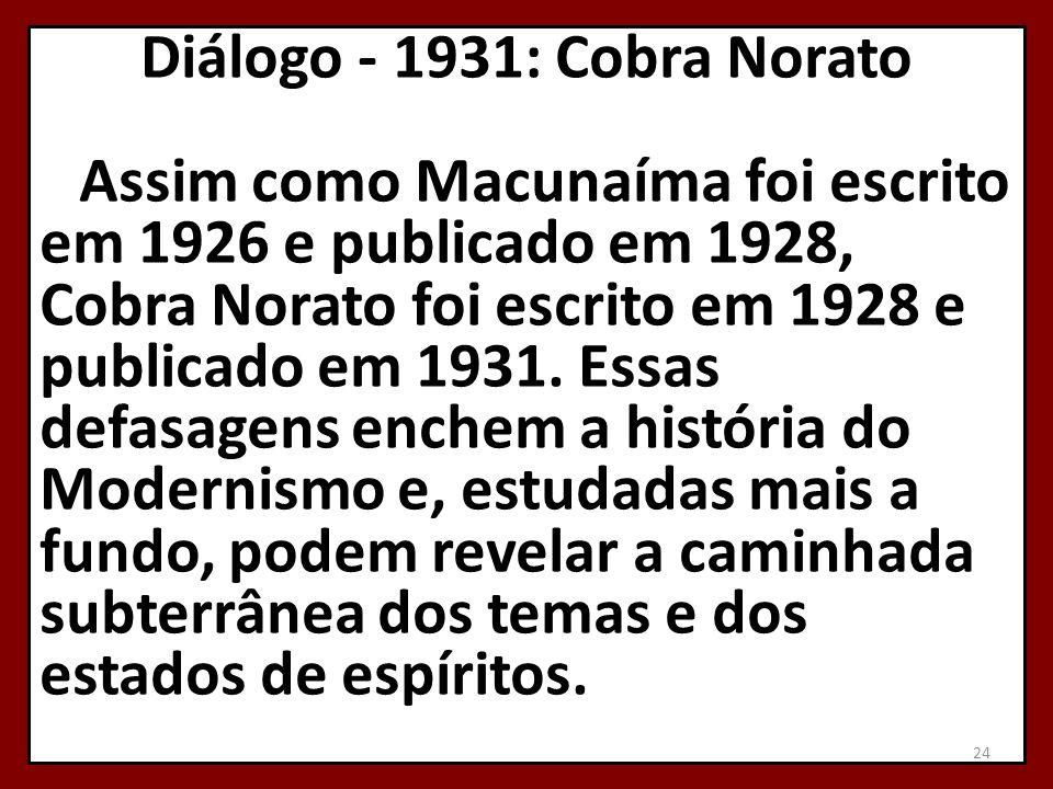 Diálogo - 1931: Cobra Norato Assim como Macunaíma foi escrito em 1926 e publicado em 1928, Cobra Norato foi escrito em 1928 e publicado em 1931. Essas