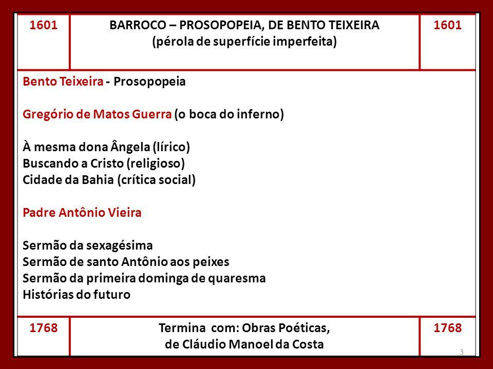3 1601BARROCO – PROSOPOPEIA, DE BENTO TEIXEIRA (pérola de superfície imperfeita) 1601 Bento Teixeira - Prosopopeia Gregório de Matos Guerra (o boca do