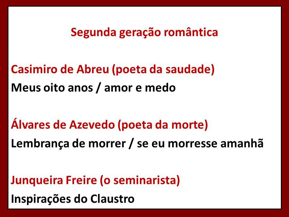 Segunda geração romântica Casimiro de Abreu (poeta da saudade) Meus oito anos / amor e medo Álvares de Azevedo (poeta da morte) Lembrança de morrer /