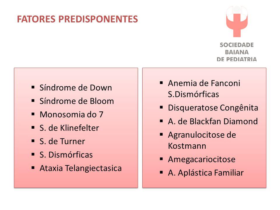 FATORES PREDISPONENTES  Síndrome de Down  Síndrome de Bloom  Monosomia do 7  S. de Klinefelter  S. de Turner  S. Dismórficas  Ataxia Telangiect