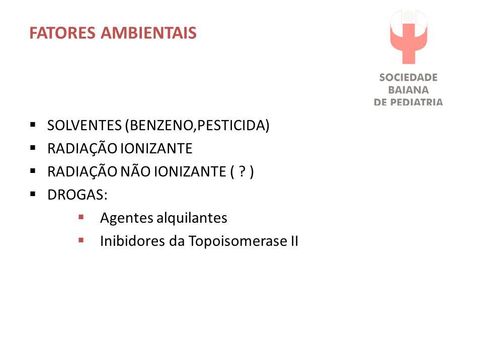 FATORES AMBIENTAIS  SOLVENTES (BENZENO,PESTICIDA)  RADIAÇÃO IONIZANTE  RADIAÇÃO NÃO IONIZANTE ( ? )  DROGAS:  Agentes alquilantes  Inibidores da